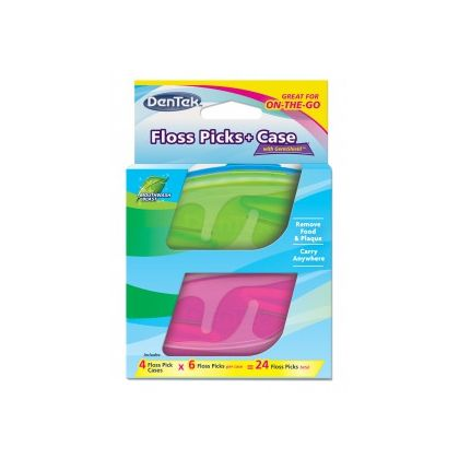 DenTek Флосс-зубочистки + Дорожный футляр: 4 футляра, 24 флосс-зубочистки